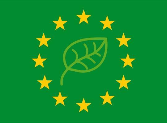 Europese vlag in het groen