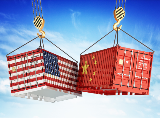 Amerikaanse en Chinese container botsen